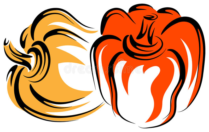 Gul och röd paprika royaltyfri illustrationer