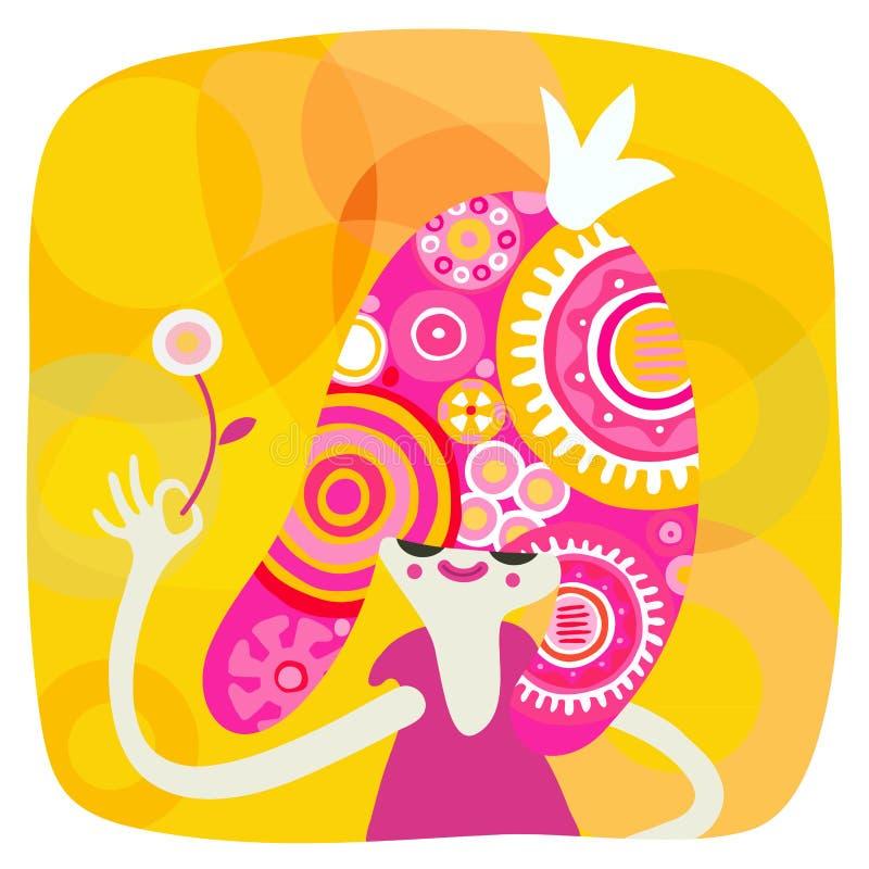 Gul och rosa prinsessastående stock illustrationer