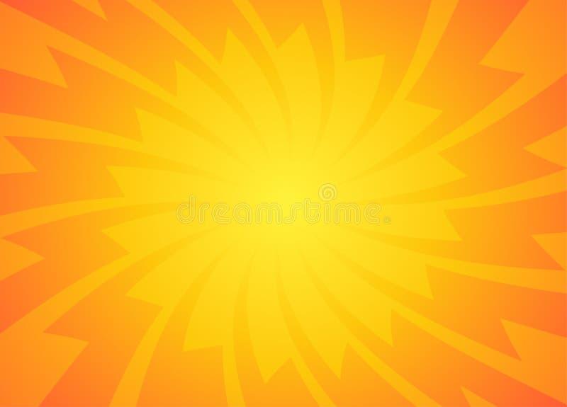 Gul orange bakgrund för strålar för solpopkonst retro vektor illustrationer