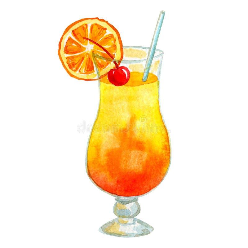 Gul orange coctailsoluppgång med orange och körsbärsrött Hand dragen vattenf?rgillustration bakgrund isolerad white arkivfoton
