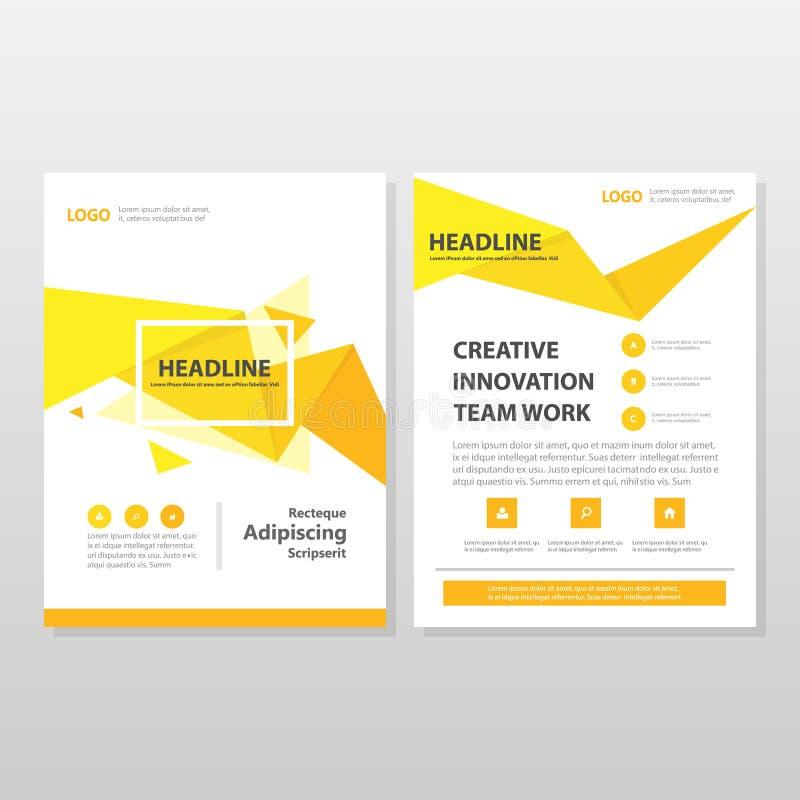 Gul orange fluga för broschyr för broschyr för triangelvektorårsrapport royaltyfri illustrationer