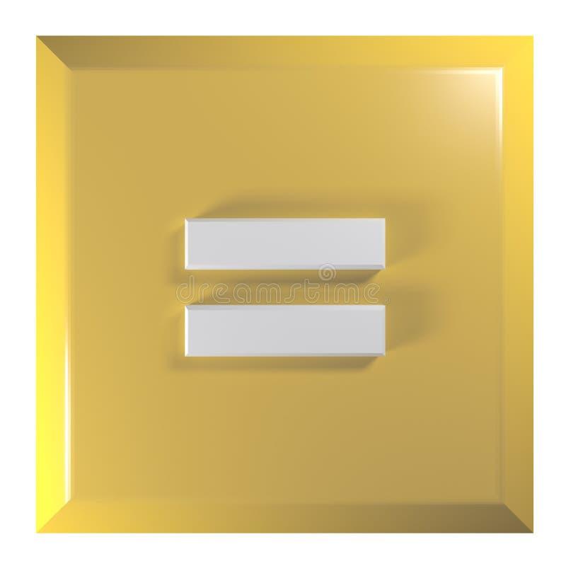 Gul - orange fyrkantig tryckknapp med tecknet = för jämställdheten - illustration för tolkning 3D royaltyfri illustrationer