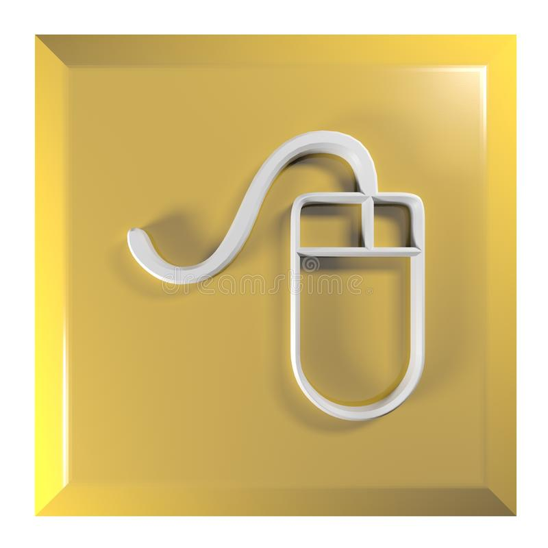 Gul - orange squareltryckknapp med mussymbolen - illustration för tolkning 3D stock illustrationer