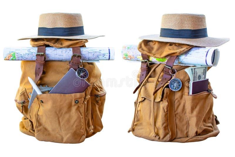 Gul påse för ryggsäck på ett vitt royaltyfri fotografi