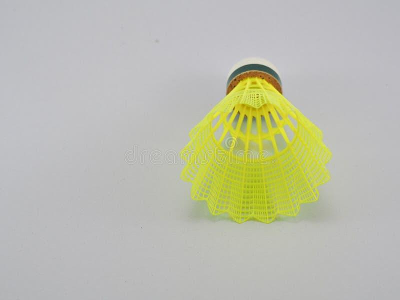 Gul plast- för badminton royaltyfri fotografi