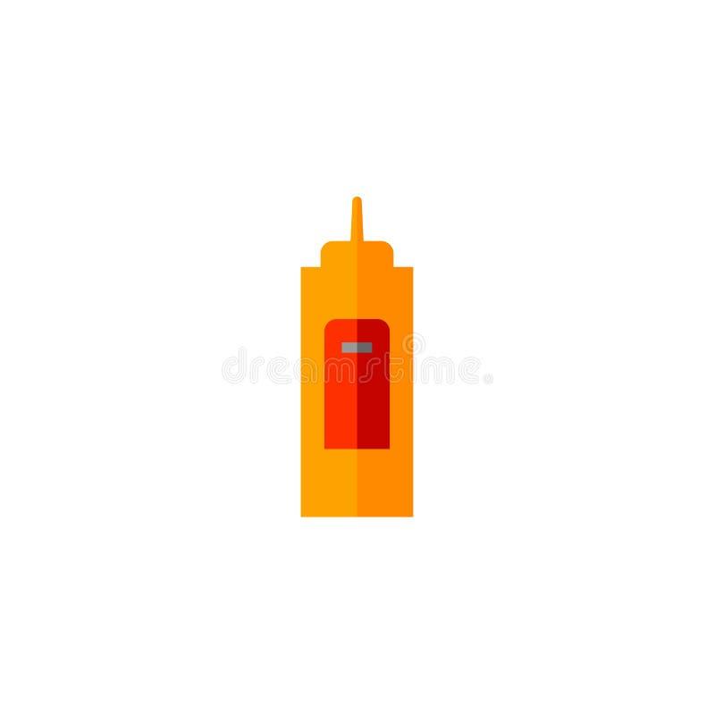 Gul plast- flaska av senapsgult sås, plan symbol vektor illustrationer