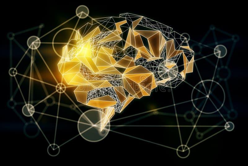Gul polygonal hjärna stock illustrationer