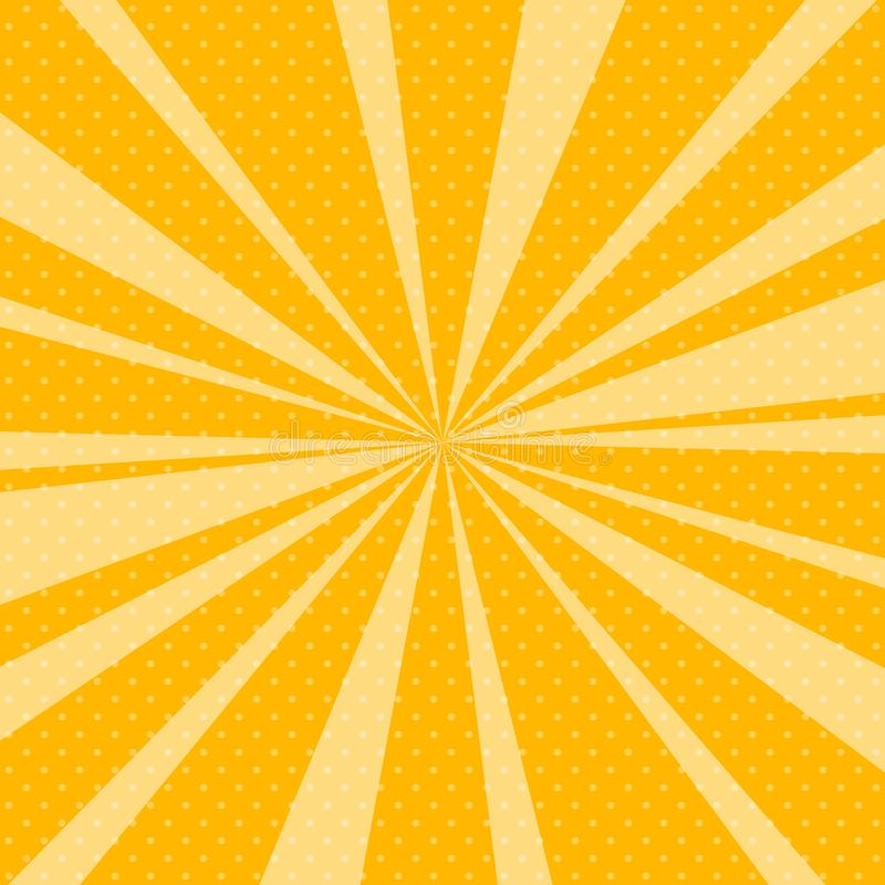 Gul pop Art Retro Background med solstrålar royaltyfri illustrationer
