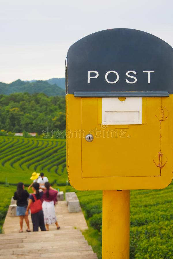 Gul postbox p? naturlig bakgrund royaltyfri foto