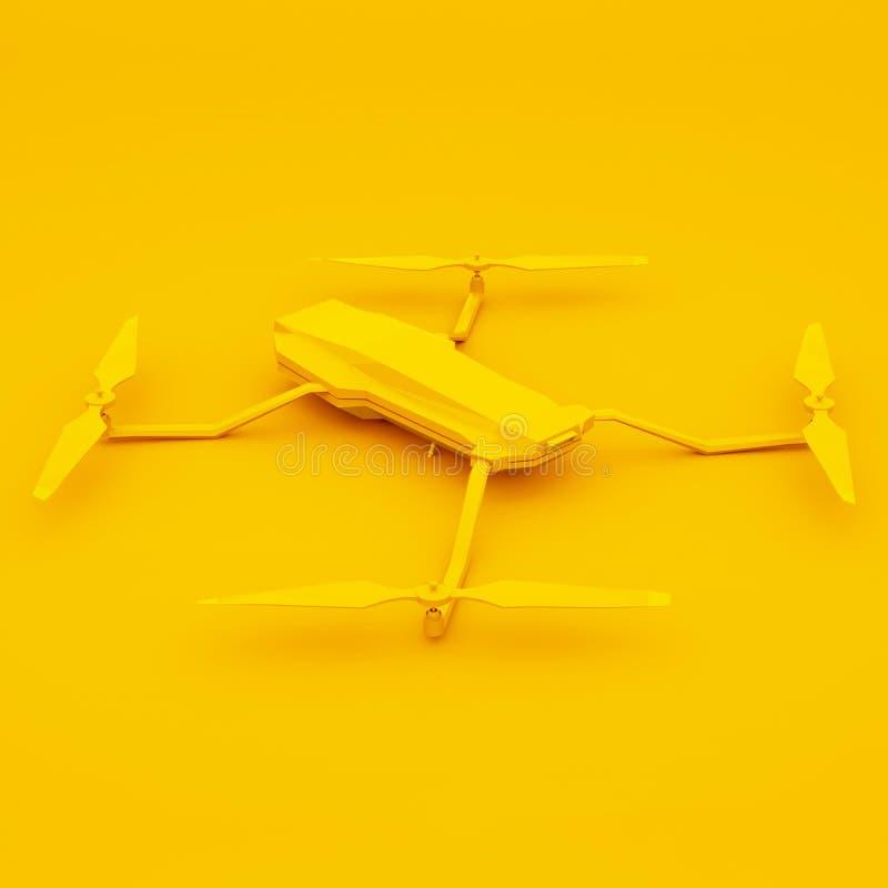 Gul quadcopter på gul bakgrund framf?rande 3d vektor illustrationer