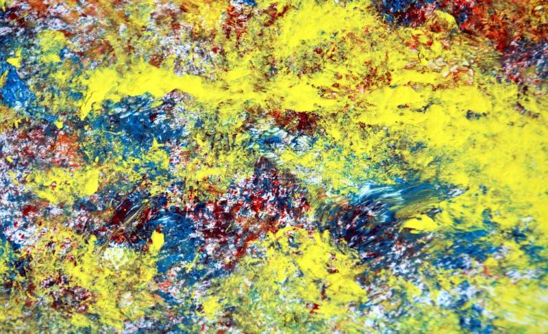Gul röd blå blå målarfärgvattenfärgtextur, bakgrund, abstrakt textur och modell fotografering för bildbyråer