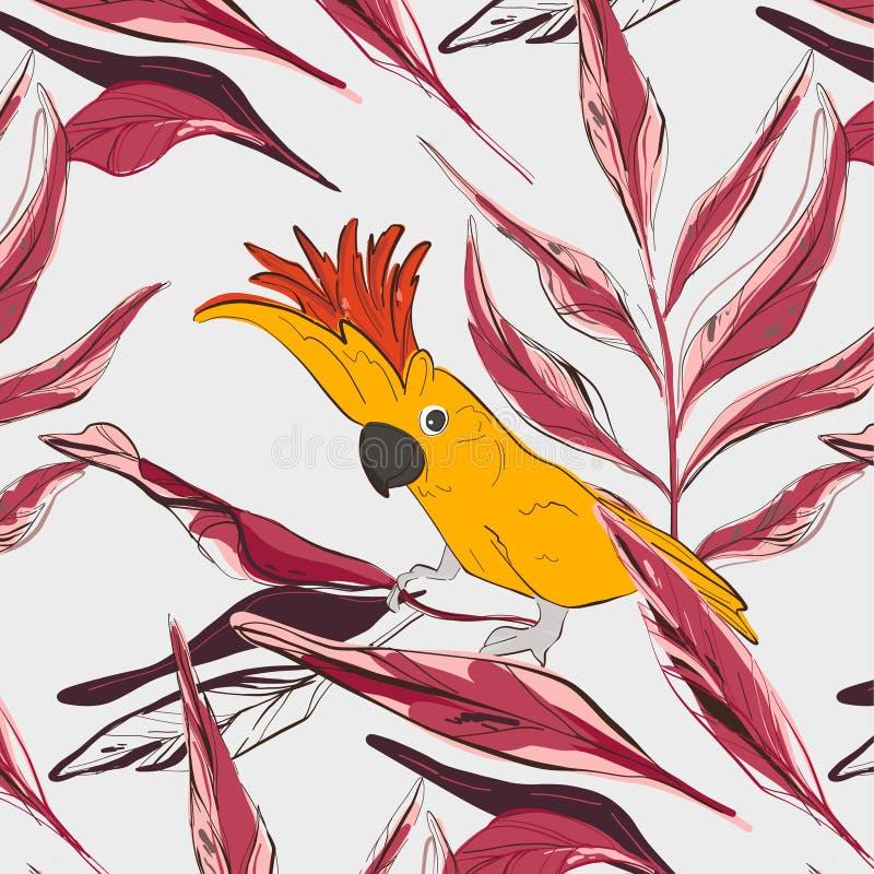 Gul r?d papegojamodell f?r kakadua Garnering f?r tyg f?r djurlivf?geltorkduk Natur hand-dragit tecken med botaniskt tropiskt royaltyfri illustrationer