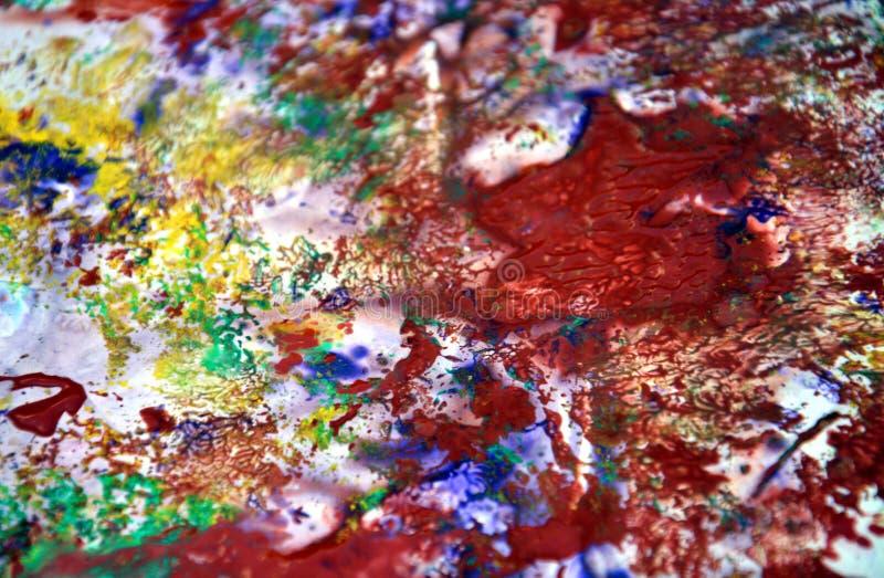 Gul röd violetblått spots pastellfärgade färger, ljus pastellfärgad bakgrund för målarfärgakrylvattenfärgen, färgrik textur arkivfoton