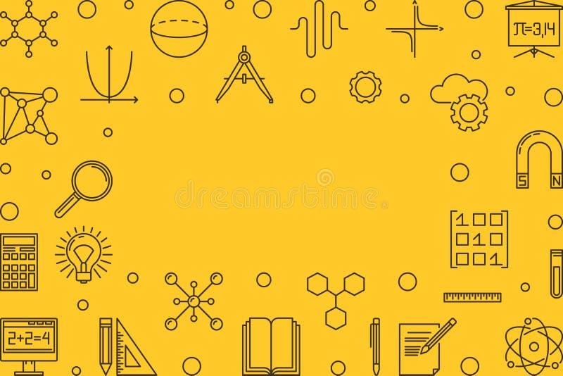 Gul ram för vetenskap, för teknologi, för teknik och för matematik royaltyfri illustrationer