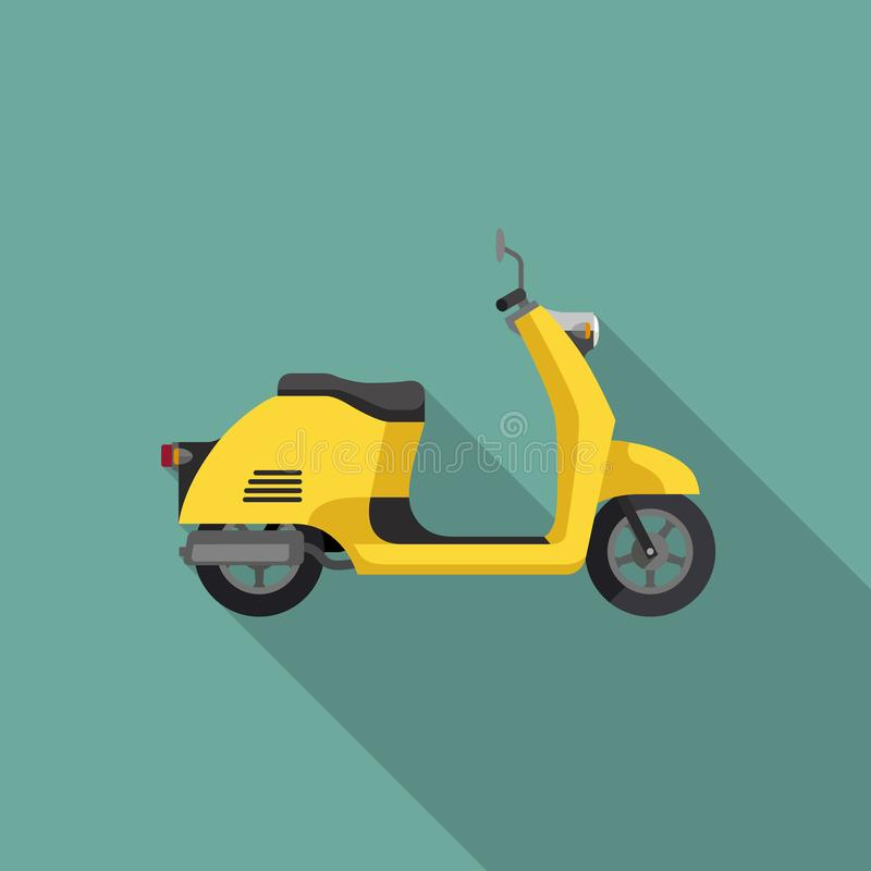 Gul Retro sparkcykel stock illustrationer