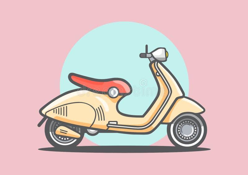 Gul retro stil av sparkcykelmopeden som isoleras på ljusröd bakgrund, den plana linjen vektor och illustration vektor illustrationer