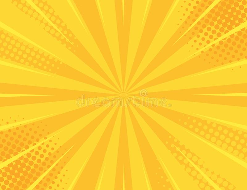 Gul Retro tappningstilbakgrund med solen rays vektorillustrationen royaltyfri illustrationer