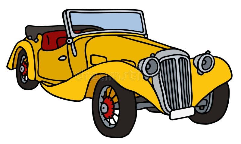 Gul roadster för tappning stock illustrationer
