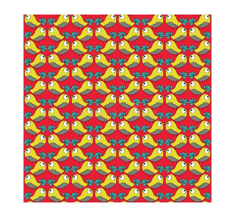 Gul sömlös fågelmodell för klotter vektor illustrationer