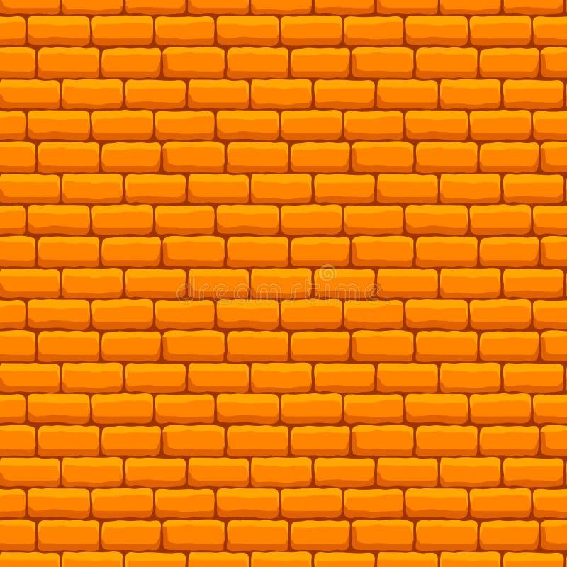 Gul sömlös textur för tegelstenvägg royaltyfri illustrationer