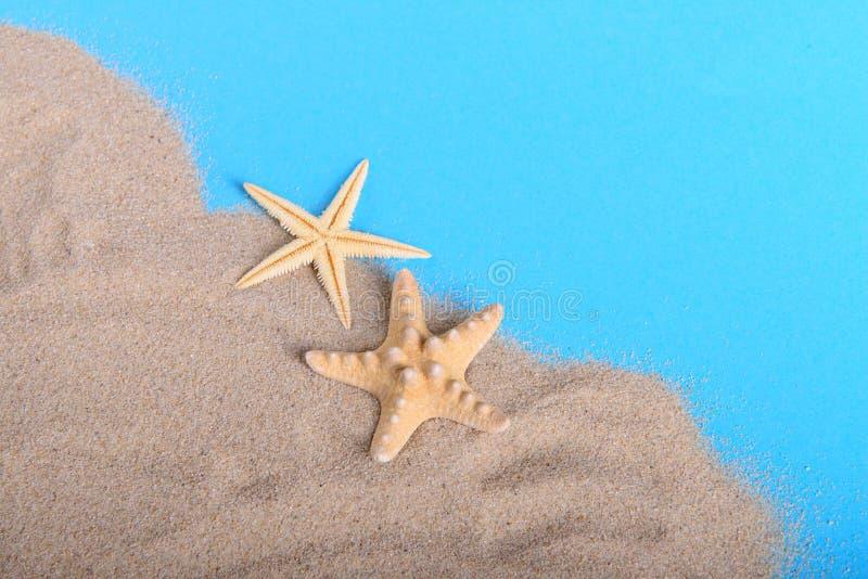 Gul sjöstjärna två på sand royaltyfria foton