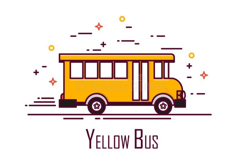 Gul skolbuss på vit bakgrund Tunn linje lägenhetdesign gears symbolen royaltyfri illustrationer