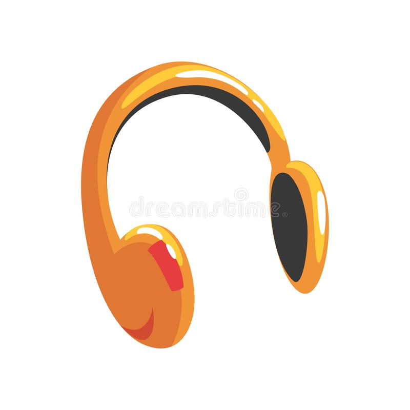 Gul skyddande illustration för hörlurartecknad filmvektor royaltyfri illustrationer