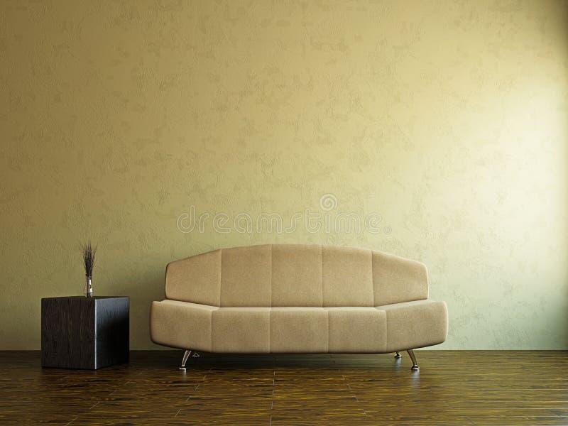 Gul sofa och i livingroomen royaltyfri illustrationer