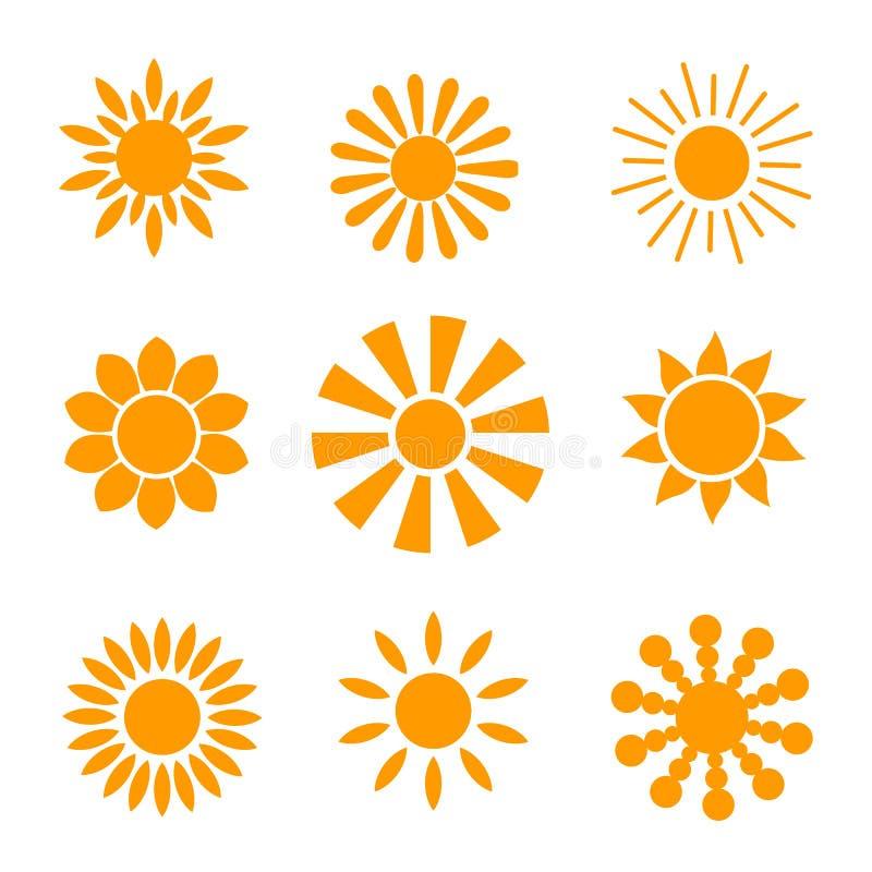 Gul solsymbolsuppsättning som isoleras på vit bakgrund Modernt enkelt plant solljus, tecken Moderiktigt sommarsymbol för websited royaltyfri illustrationer