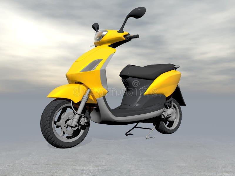 Gul sparkcykel - 3D framför royaltyfri illustrationer