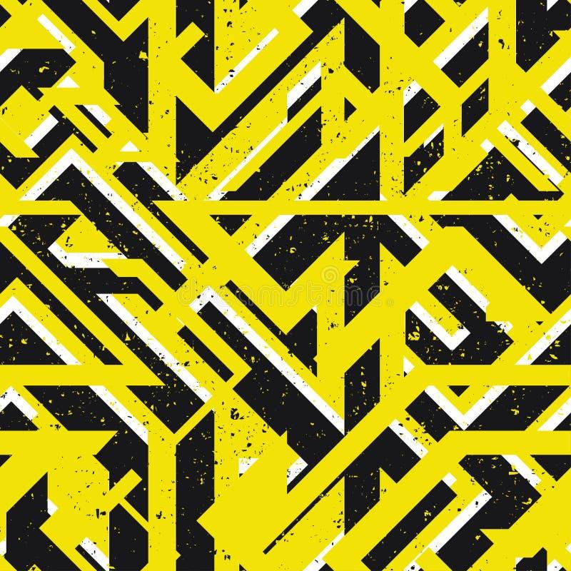 Gul stads- geometrisk sömlös textur stock illustrationer