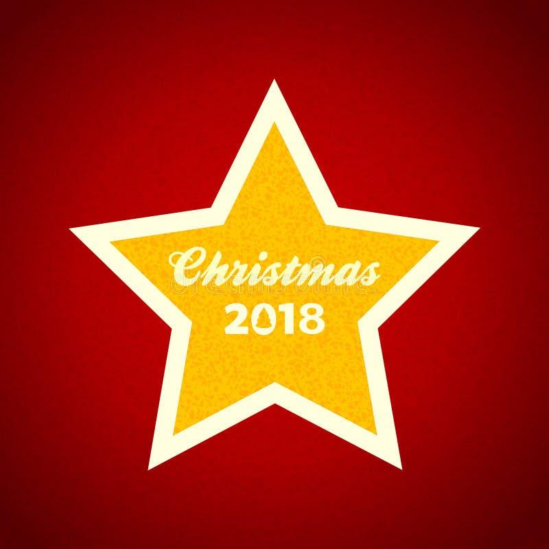 Gul stjärna för jul med dekorativ text på rött royaltyfria foton
