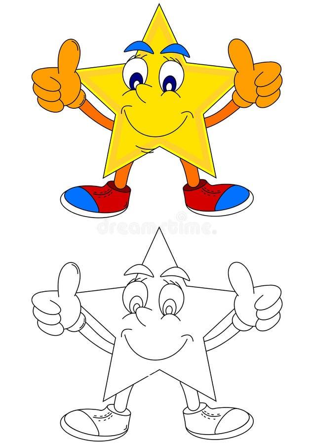 Gul stjärna med ett leende och tummar upp stock illustrationer