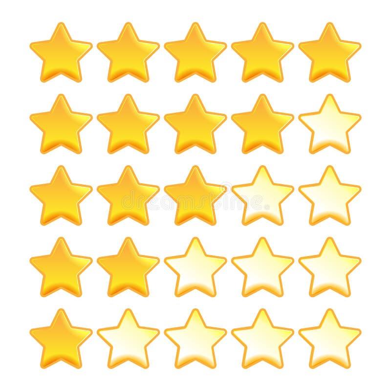 Gul stjärnavärderingsuppsättning royaltyfri illustrationer