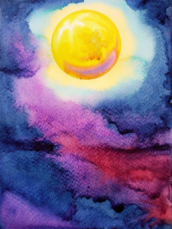 Gul stor fullmåne på mörker - blå målning för vattenfärg för natthimmel royaltyfri foto