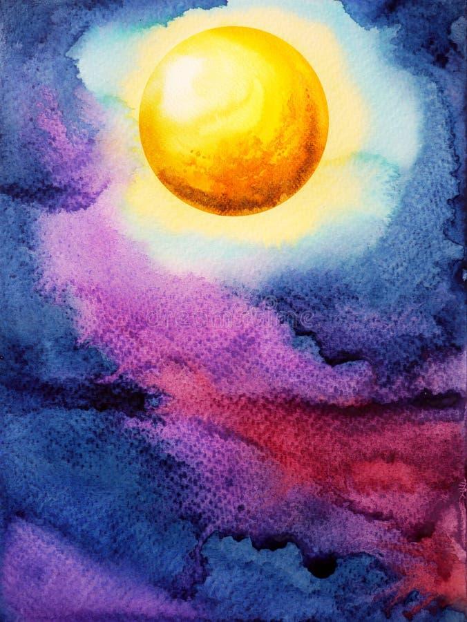 Gul stor fullmåne på mörker - blå målning för vattenfärg för natthimmel royaltyfri fotografi