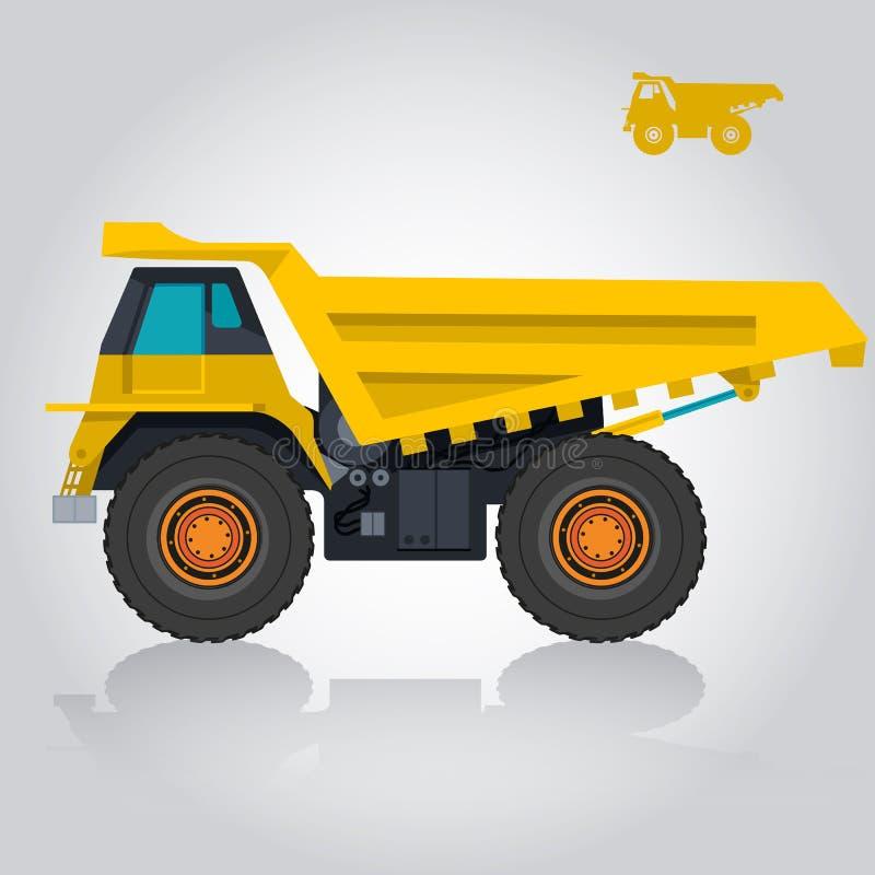 Gul stor lastbil, stora hjul och däck royaltyfri illustrationer