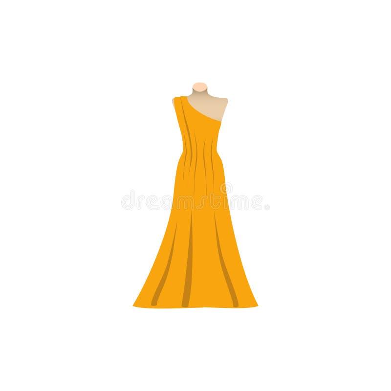 Gul Sundress, aftonklänning, kombination eller nattlinne, konturn också vektor för coreldrawillustration royaltyfri illustrationer