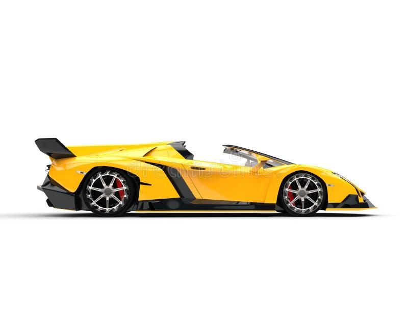 Gul Supercar - sidosikt royaltyfri illustrationer