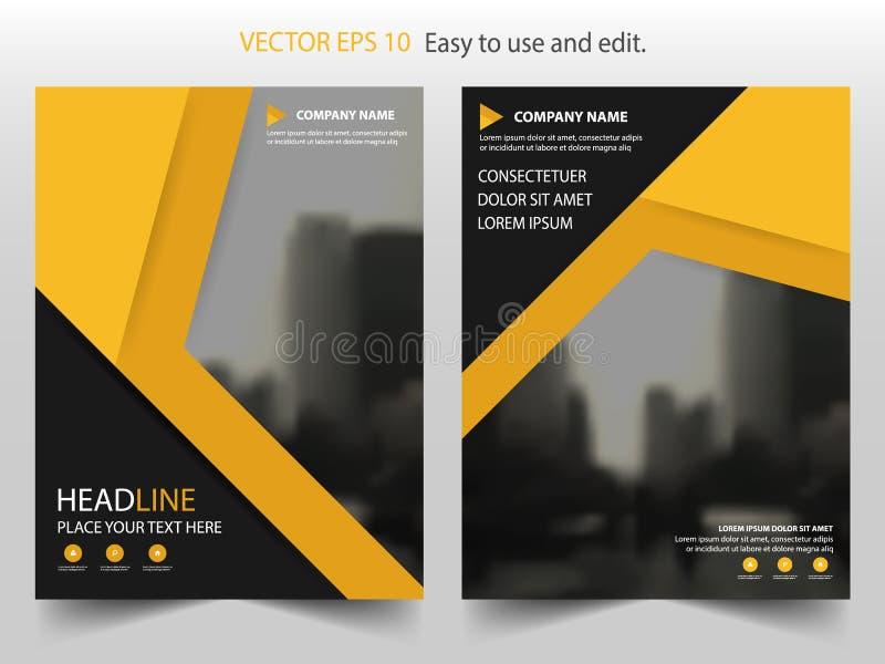 Gul svart design för mall för reklamblad för broschyr för årsrapport för triangelvektorbroschyr, bokomslagorienteringsdesign, vektor illustrationer