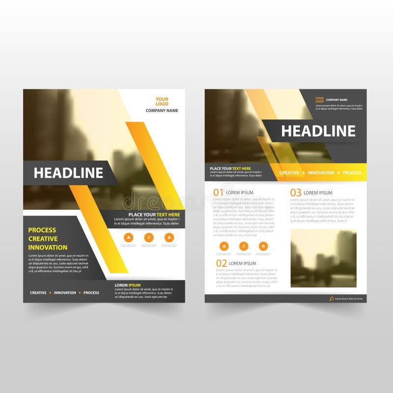Gul svart design för mall för reklamblad för broschyr för vektorårsrapportbroschyr, bokomslagorienteringsdesign, abstrakt affärsp stock illustrationer