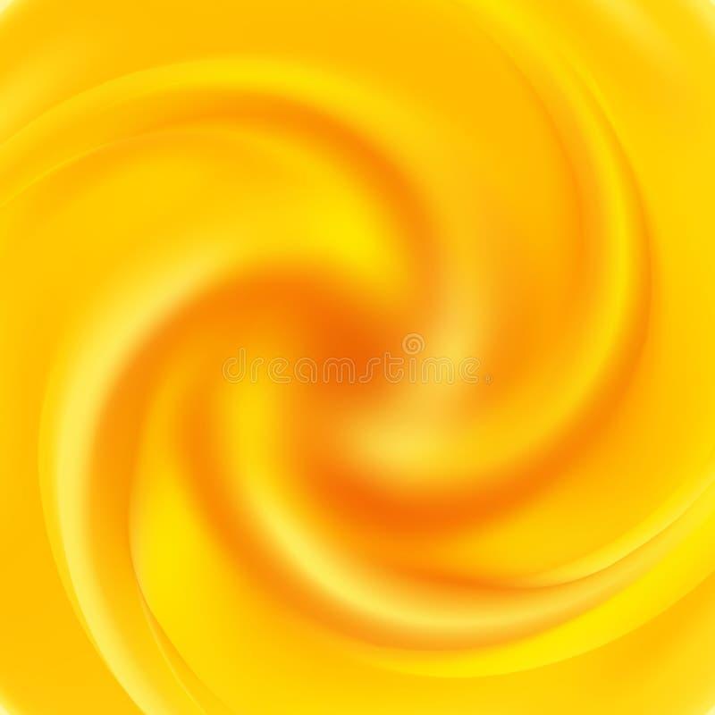 Gul swirlbakgrund Den abstrakt apelsinen virvlar runt vektor illustrationer