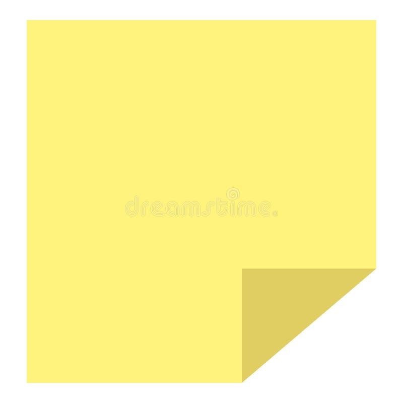 Gul symbol för ark för pinneanmärknings- eller stolpeanmärkningspapper stock illustrationer