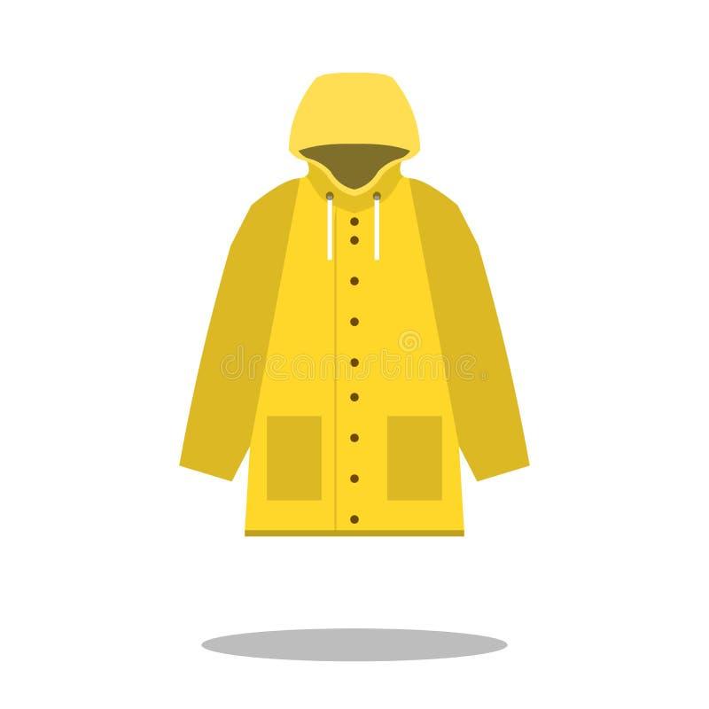 Gul symbol för regnrock, lägenhetdesign av kläder för regnlag med rund skugga, vektorillustration vektor illustrationer
