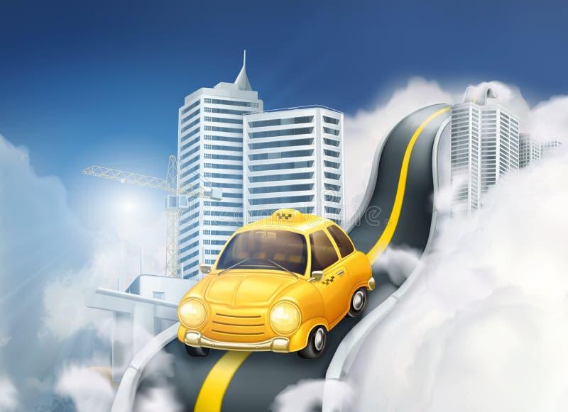Gul taxi på vägen i stad royaltyfri illustrationer