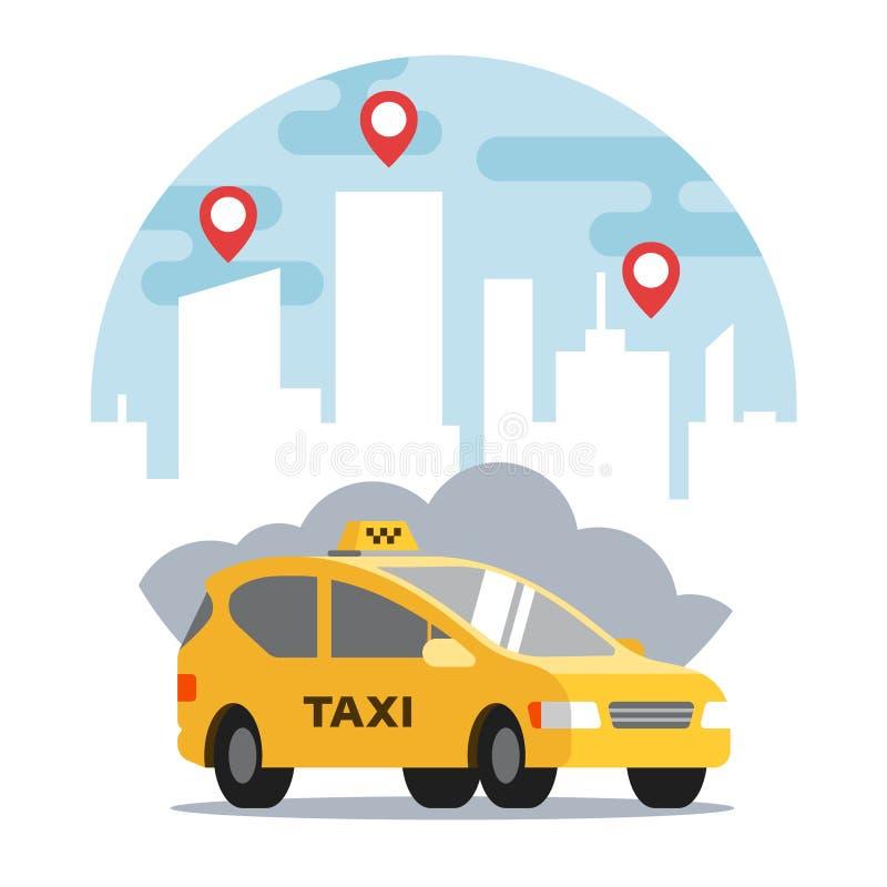 Gul taxi p? bakgrunden av staden vektor illustrationer