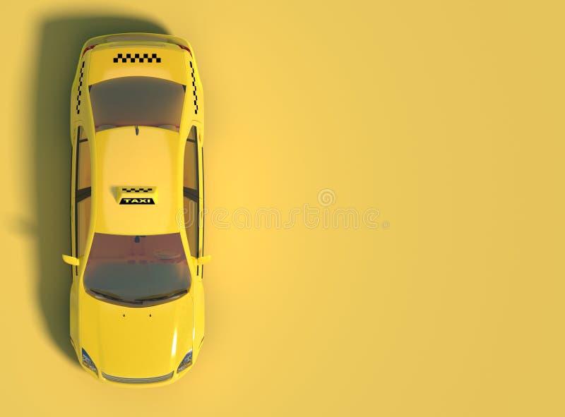 Gul taxibil på en gul bakgrund med fritt utrymme för text Top beskådar framförande 3d royaltyfri illustrationer