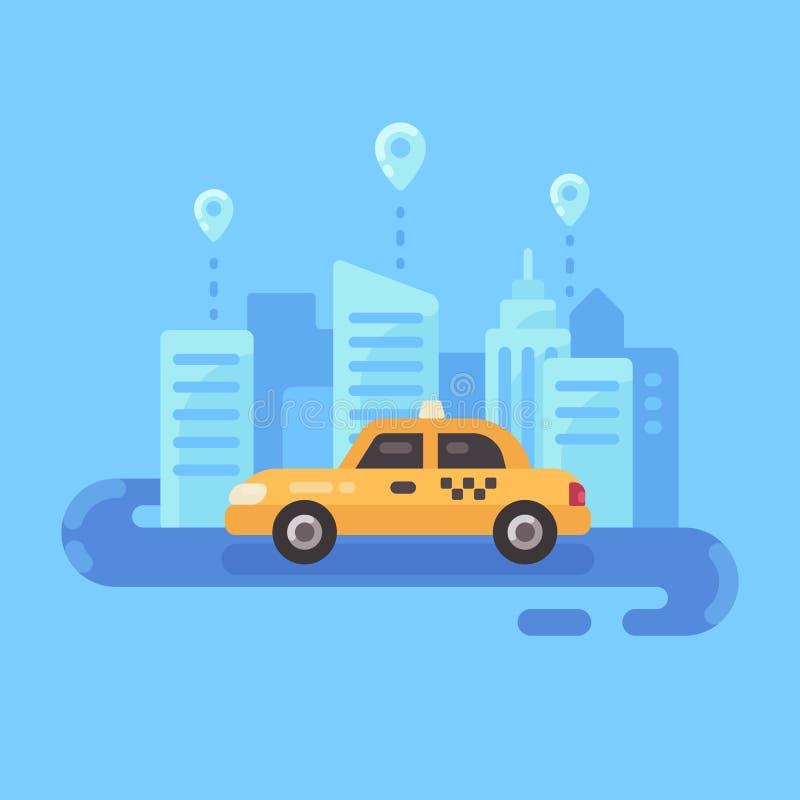 Gul taxibil på vägen Bann för illustration för tjänste- lägenhet för taxi royaltyfri illustrationer