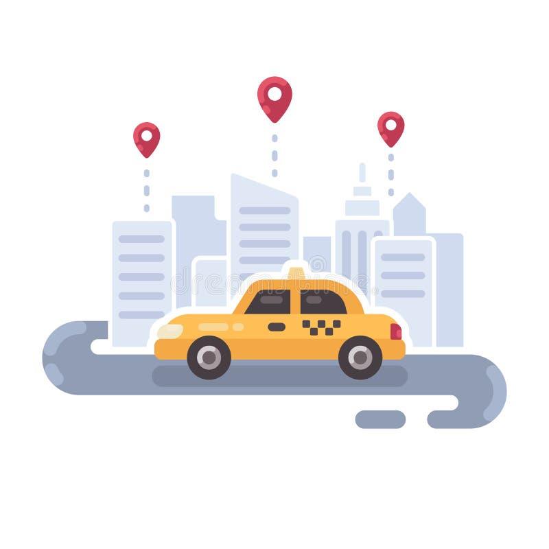 Gul taxibil på vägen Illustration för tjänste- lägenhet för taxi vektor illustrationer