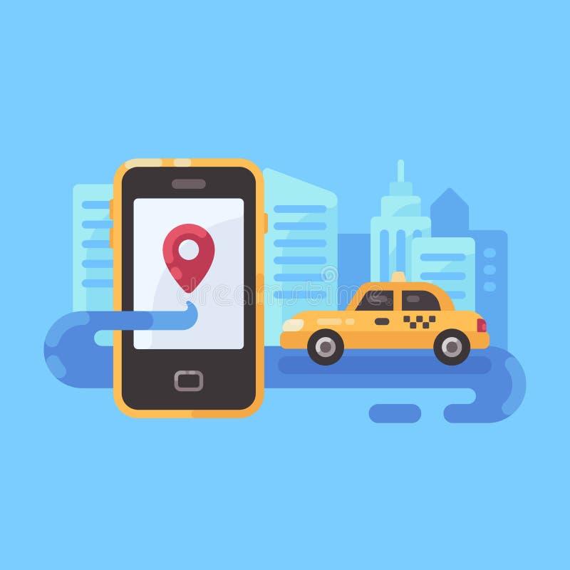 Gul taxibil på vägen med smartphonen stock illustrationer